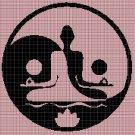 Meditation silhouette cross stitch pattern in pdf