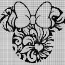 Minnie head with flowers silhouette cross stitch pattern in pdf