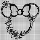Minnie wreath silhouette cross stitch pattern in pdf