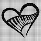 Music heart silhouette cross stitch pattern in pdf