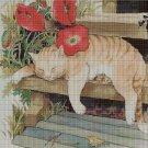 Cat with poppies DMC cross stitch pattern in pdf DMC