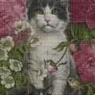 Cats among flowers DMC cross stitch pattern in pdf DMC