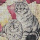 Cats on bed DMC cross stitch pattern in pdf DMC