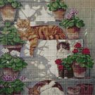 Cats on stairs DMC cross stitch pattern in pdf DMC