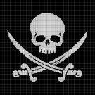 Pirate skull silhouette cross stitch pattern in pdf
