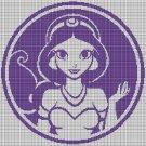 Princess Jasmine silhouette cross stitch pattern in pdf