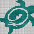 Sea green turtle silhouette cross stitch pattern in pdf