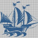 Ship 2 silhouette cross stitch pattern in pdf