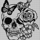 Skull with flowers silhouette cross stitch pattern in pdf