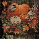 Birds and pumpkins DMC cross stitch pattern in pdf DMC