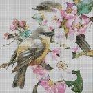 Birds in blossom DMC cross stitch pattern in pdf DMC