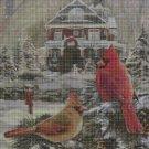 Birds in winter DMC cross stitch pattern in pdf DMC