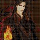 Anime fire wizard DMC cross stitch pattern in pdf DMC