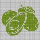 Avocado silhouette cross stitch pattern in pdf