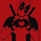 Deadpool love silhouette cross stitch pattern in pdf