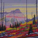 Mountains DMC cross stitch pattern in pdf DMC
