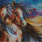 Native American horse DMC cross stitch pattern in pdf DMC