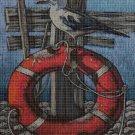 Seagull on the shore DMC cross stitch pattern in pdf DMC