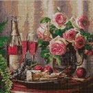 Wine and roses DMC cross stitch pattern in pdf DMC