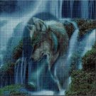 Wolf in the waterfall DMC cross stitch pattern in pdf DMC