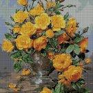 Yellow roses DMC cross stitch pattern in pdf DMC