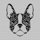 Art Bulldog head silhouette cross stitch pattern in pdf