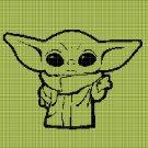 Baby Yoda 2 silhouette cross stitch pattern in pdf