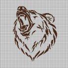 Bear head silhouette cross stitch pattern in pdf
