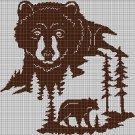 Bear in forest silhouette cross stitch pattern in pdf