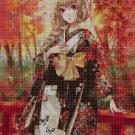 Anime girl in autumn 3 DMC cross stitch pattern in pdf DMC