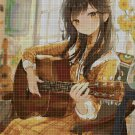 Anime girl with guitar DMC cross stitch pattern in pdf DMC