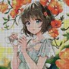 Anime girl with orange flowers DMC cross stitch pattern in pdf DMC