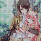 Anime lovers with bunny DMC cross stitch pattern in pdf DMC