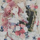 Anime lovers with flowers DMC cross stitch pattern in pdf DMC