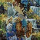 Anime girl in blue DMC cross stitch pattern in pdf DMC