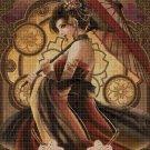 Fantasy beauty with umbrella DMC cross stitch pattern in pdf DMC