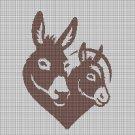 Donkeys silhouette cross stitch pattern in pdf