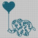 Elephant with balloons silhouette cross stitch pattern in pdf