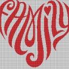 Family silhouette cross stitch pattern in pdf