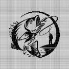 Fishing silhouette cross stitch pattern in pdf