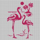 Flamingos silhouette cross stitch pattern in pdf