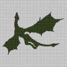 Flying Dragon silhouette cross stitch pattern in pdf
