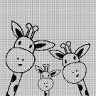 Giraffe family silhouette cross stitch pattern in pdf