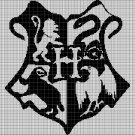 Hogwarts Houses silhouette cross stitch pattern in pdf