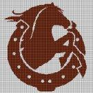 Horse in horseshoe silhouette cross stitch pattern in pdf