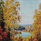 Autumn by the river DMC cross stitch pattern in pdf DMC