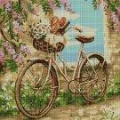 Bicycle among flowers DMC cross stitch pattern in pdf DMC