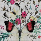 Butterfly with flowers DMC cross stitch pattern in pdf DMC