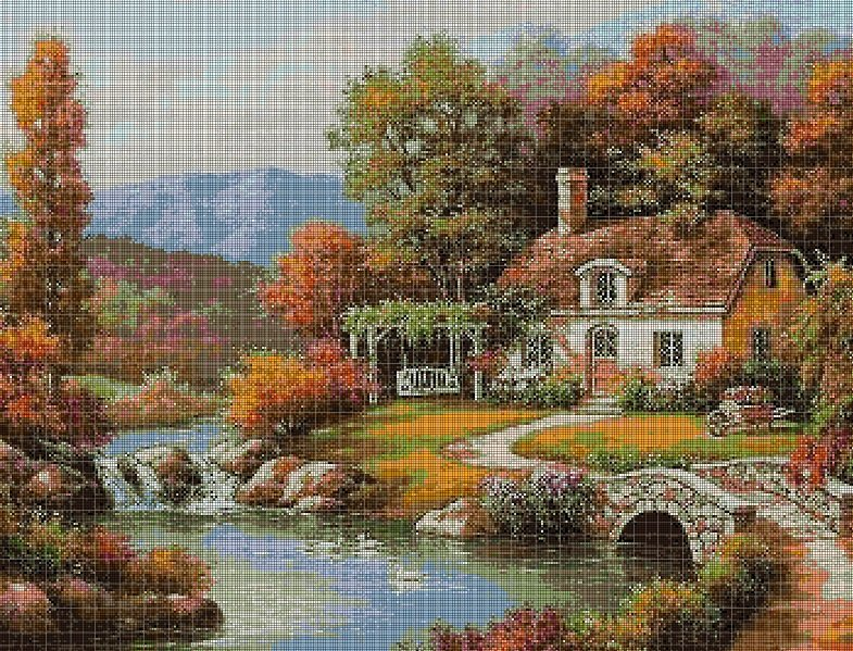 Cottage by the river DMC cross stitch pattern in pdf DMC