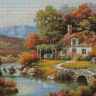 Cottage by the river DMC cross stitch pattern in pdf DMC